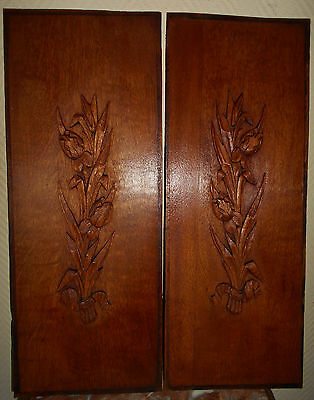 Antique Pair French Carved Architectural Panel Oak Floral Decoration