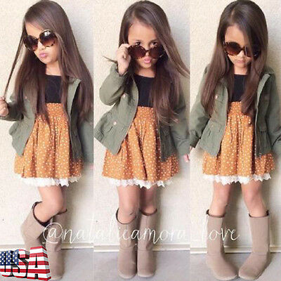 Kids Baby Girl Long Sleeve Coat Jacket Outwear + Sleeveless Dress Outfit Clothes