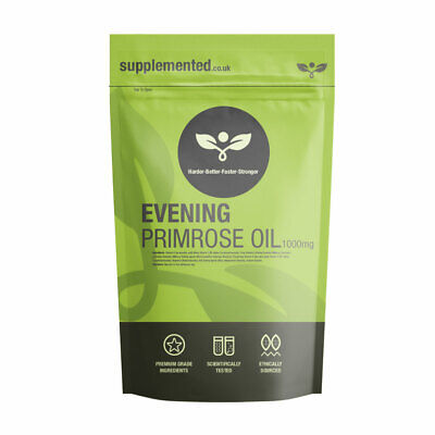 EVENING PRIMROSE OIL 1000MG CAPSULES, COLD PRESSED, ✅UK Made ✅Letterbox Friendly