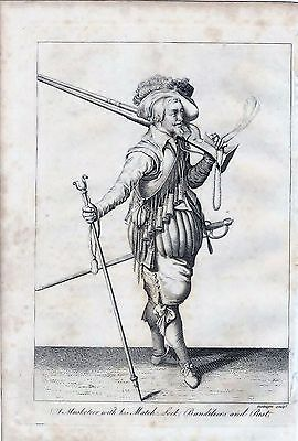 1801 Antique Military Print Musketeer With His Matchlock Bandileers And Rest