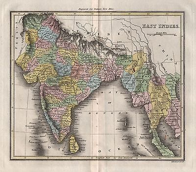 1816 Antique Map Walker Hand Coloured East Indies