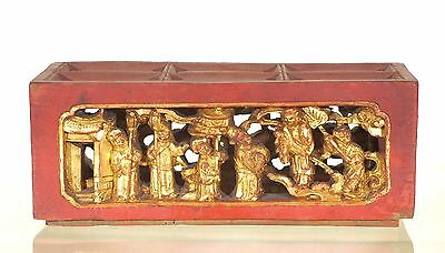 Antique Chinese Red Gilt Wooden Altar Box w Carved Panel, Qing Dynasty, 19th c