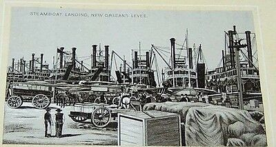 Antique #7 Jersey Coffee Trade Card-Steamboat Landing-New Orleans Levee-Wagons