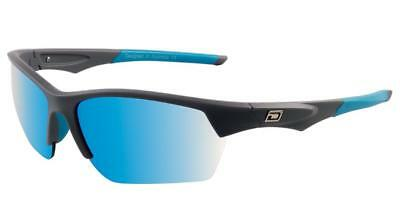 Dirty Dog SPORTY Track Wrap Sunglasses Silver/Grey Polarized Blue Mirror Lenses