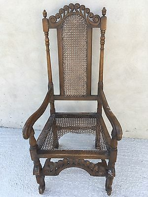 Antique Rush Sea-Geass Cane Carver Arm Chair Seat Dinning Hall Restoration