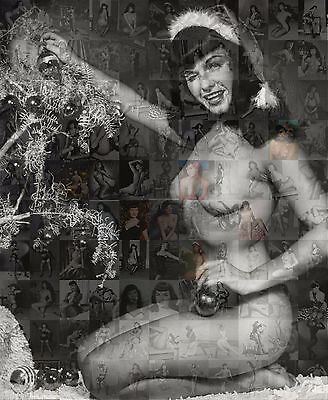 CHRISTMAS BETTIE PAGE PIN UP  photo mosaic cm. 31x42 poster with a lot of pics