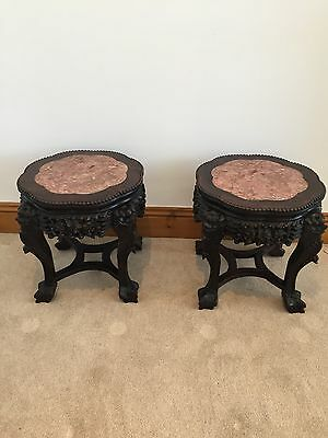 A Delightful Pair of 19th Century, Chinese Rosewood Circular Urn Stands