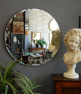 "Beautiful large round Deco bevelled mirror, 20"" frameless vintage on chain."