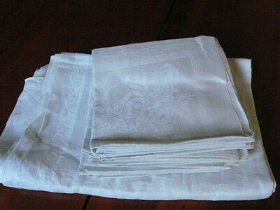 """Antique French pure linen table cloth 86""""x66""""& 12 napkins"""