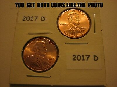 2-coins BOTH are 2017-D  Lincoln Shield Cent Pennies Gem BU-from OBW's FREE SHIP