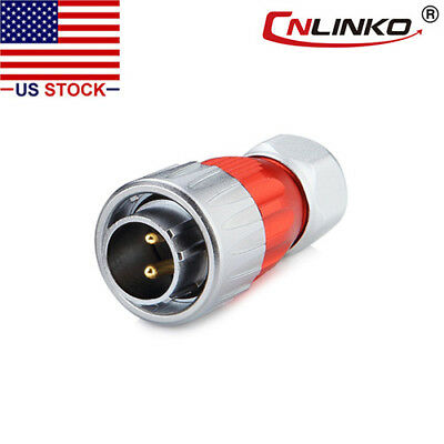 2 Pin Power Connector Male Plug Waterproof Outdoor IP67 Metal Case AC / DC