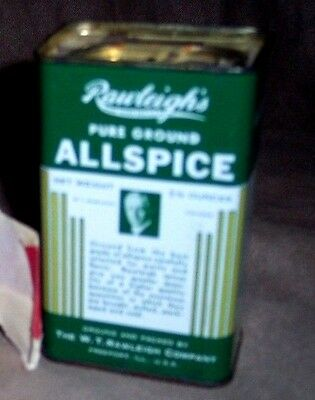 Antique Vintage Rawleigh's Pure Ground Allspice Green And White Spice Tin