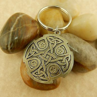 Celtic Knot pewter Keychain Irish Key ring, with Trinity Knot, Celtic Cross