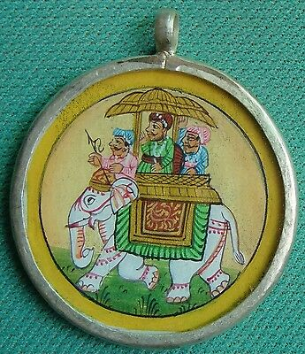 Striking Royal Procession Elephant Painting Silver Necklace Pendant Vintage Art