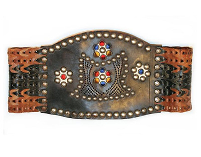 1950s Studded and Jeweled Leather Motorcycle Kidney Belt