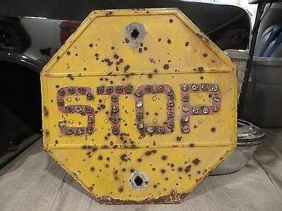 Vintage 1930s Yellow Metal Stop Sign Cat Eye Marble Glass Reflectors Railroad