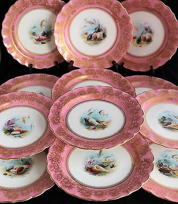 Antique set 12 ROYAL WORCESTER 19TH C. PLATES HAND PAINTED FISH SHELL gold gilt