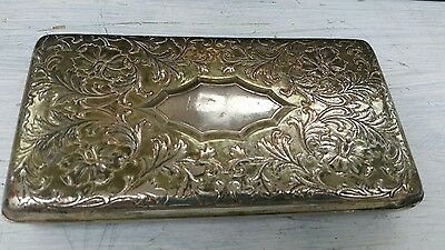 Vintage Silver Plate Cigarette / Cigar Box with Patterned Lid & Small Feet