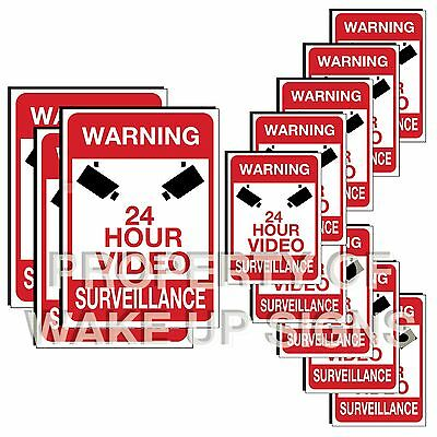 12 warning video surveillance stickers decals for indoor and outdoor sign use