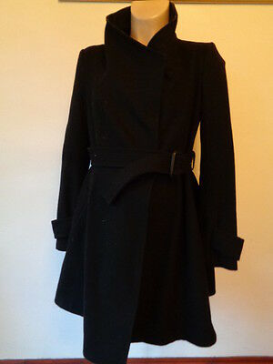 Asos Maternity Black Wool Mix Belted Mac Jacket Coat Size 10