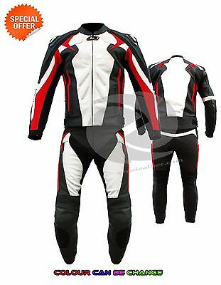 Two piece motorbike gears red and white motorcycle leather jacket and trouser