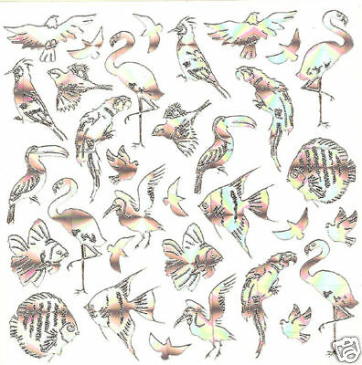 Birds And Fishes Stickers Hologram Silver