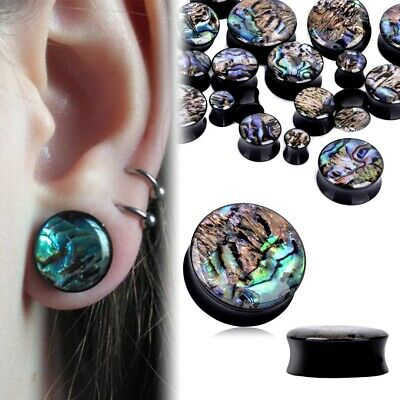 Pair-Black Acrylic And Abalone Shell Ear Plugs Ear Gauges Flesh Tunnels 8-25Mm