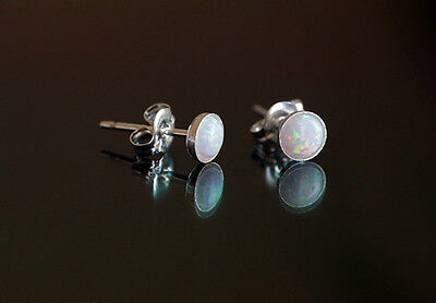 925 sterling silver stud earrings with 4 mm white opal stones