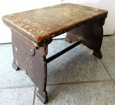 Primitive Antique Foot Stool Milking Farm Country Painted Wood Patina Display