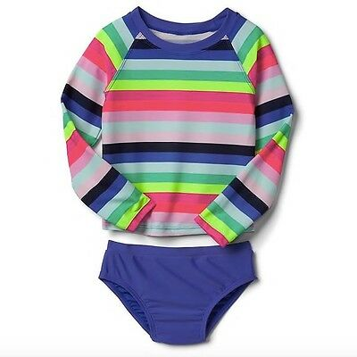 BABY GAP Girls Swimsuit Long Sleeve Rash Guard 2-Piece Striped NEW NWT 3T 4T 5T