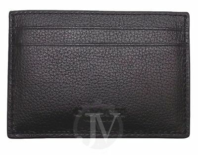 New Men's Coach Black Leather Money Clip Card Case Holder Wallet