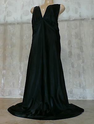 Vintage Black Satin Nightgown --Bust To 40""