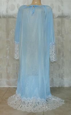 Vintage Blue Extra Lacy Nightgown--Size-Large