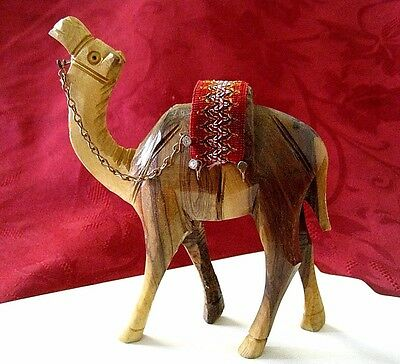 Camel Olive Wood Carved Figurine Sculpture Made In Bethlehem Israel