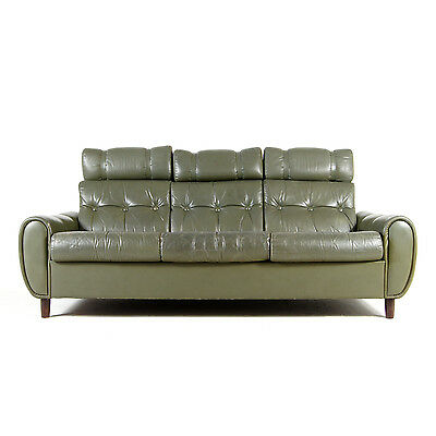 Retro Vintage Danish Scandinavian 3 Seat Seater Green Leather Sofa 50s 60s 70s