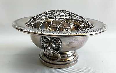 Vintage Silver Plate On Copper Rose Bowl with Lion Heads