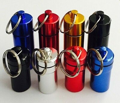 PILL BOX STASH CONTAINER metal snuff box NEW Key Ring SNUFF SAFE  - 2 sizes