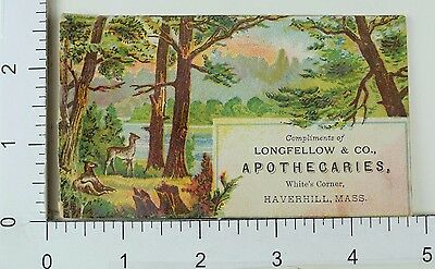 Victorian Trade Card Longfellow & Co Apothecaries Forest Scene Deer F66