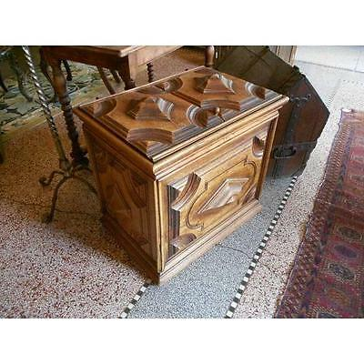 ANTIQUE French 18th Century Carved Storage Box Wood CHEST
