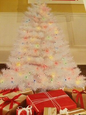 4' Pre-lit White Indiana Spruce Christmas Tree Multi-color Lights