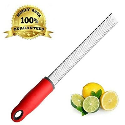 Zulay Zester and Grater for Citrus, Cheese, Ginger - Stainless Steel, Red