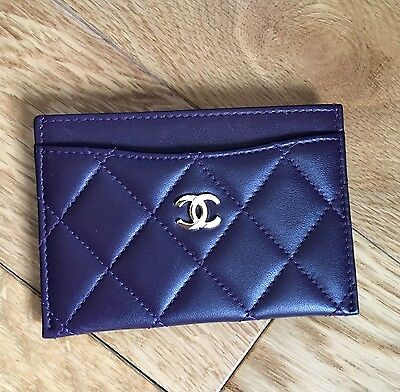 Chanel quilted leather dark purple O-card holder