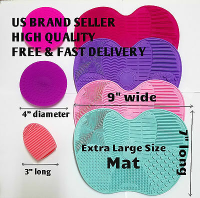 Makeup Brush Cleaning Washing Mat Pad Board Silicone Scrubber Tool Large Size