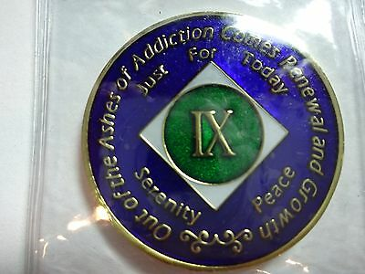 NA Tri-Plate Narcotics Anonymous Blue Green & Gold Coin 9 Year Medallion