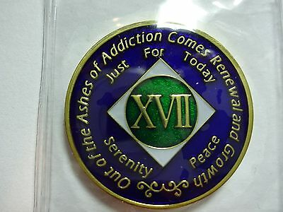 Capsule/&Stand NA Blue Gold Coin 40 Year Tri-Plate Narcotics Anonymous Medallion