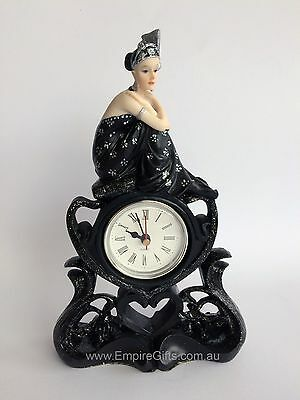 Art Deco Lady Clock Antique Reproduction Black Dress - Collection Gifts