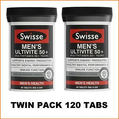 Swisse Men's Ultivite 50+ 2x60 Tablets | Twin Pack | 120 Tabs | 4 Months Supply