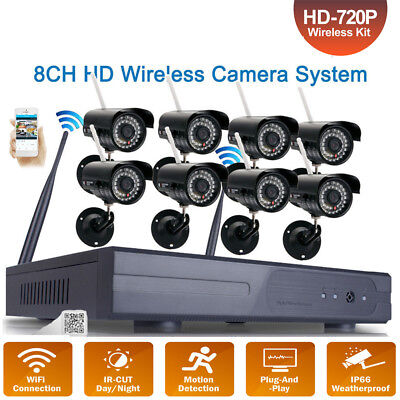 8Pcs Wireless 8CH NVR 720P WIFI Night Vision Outdoor Camera Security System CCTV