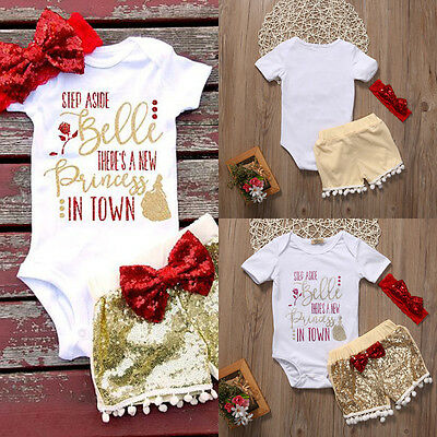 Newborn Infant Baby Girls Clothes Romper Jumpsuit Bodysuit+Pants Outfit Set USA