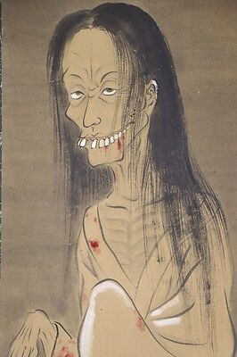 """JAPANESE HANGING SCROLL ART Painting """"Yurei, Ghost"""" Asian antique  #E4678"""